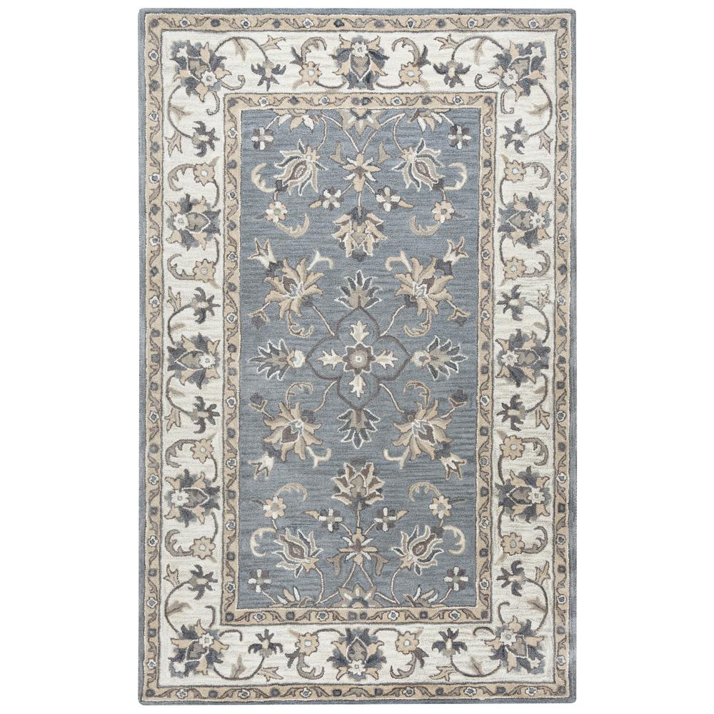 Rizzy Home Valintino Grey Border Hand Tufted Wool 5 Ft X 8 Area Rug
