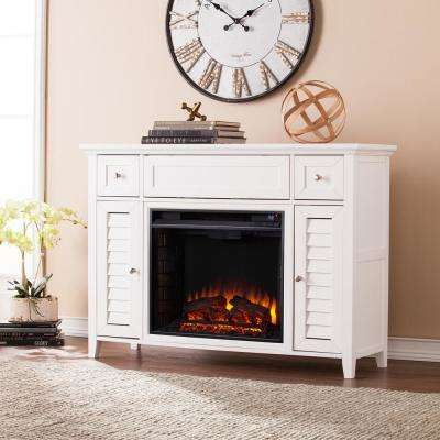 Kennison 48 in. 3-in-1 Media Fireplace Console in White