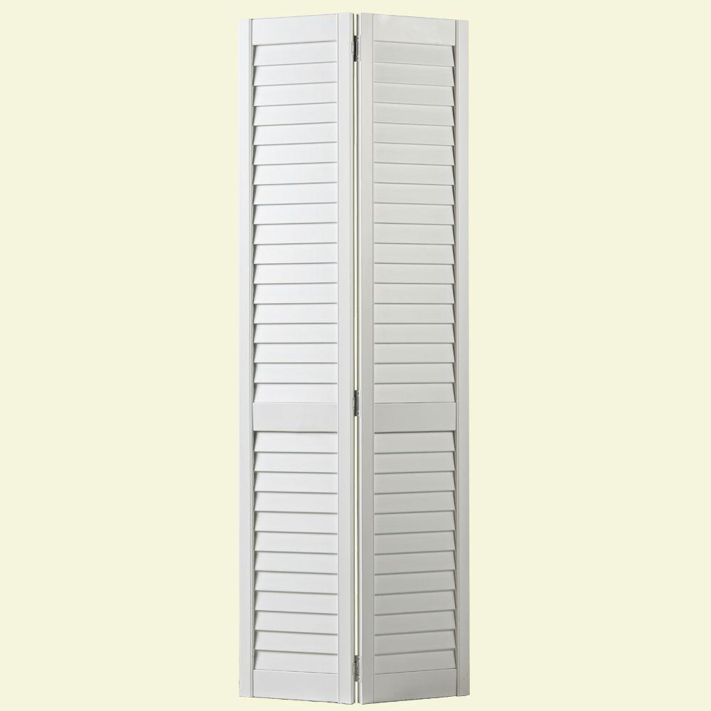 Plantation Full Louvered Painted White Solid Core Pine Bi Fold Door 25444    The Home Depot