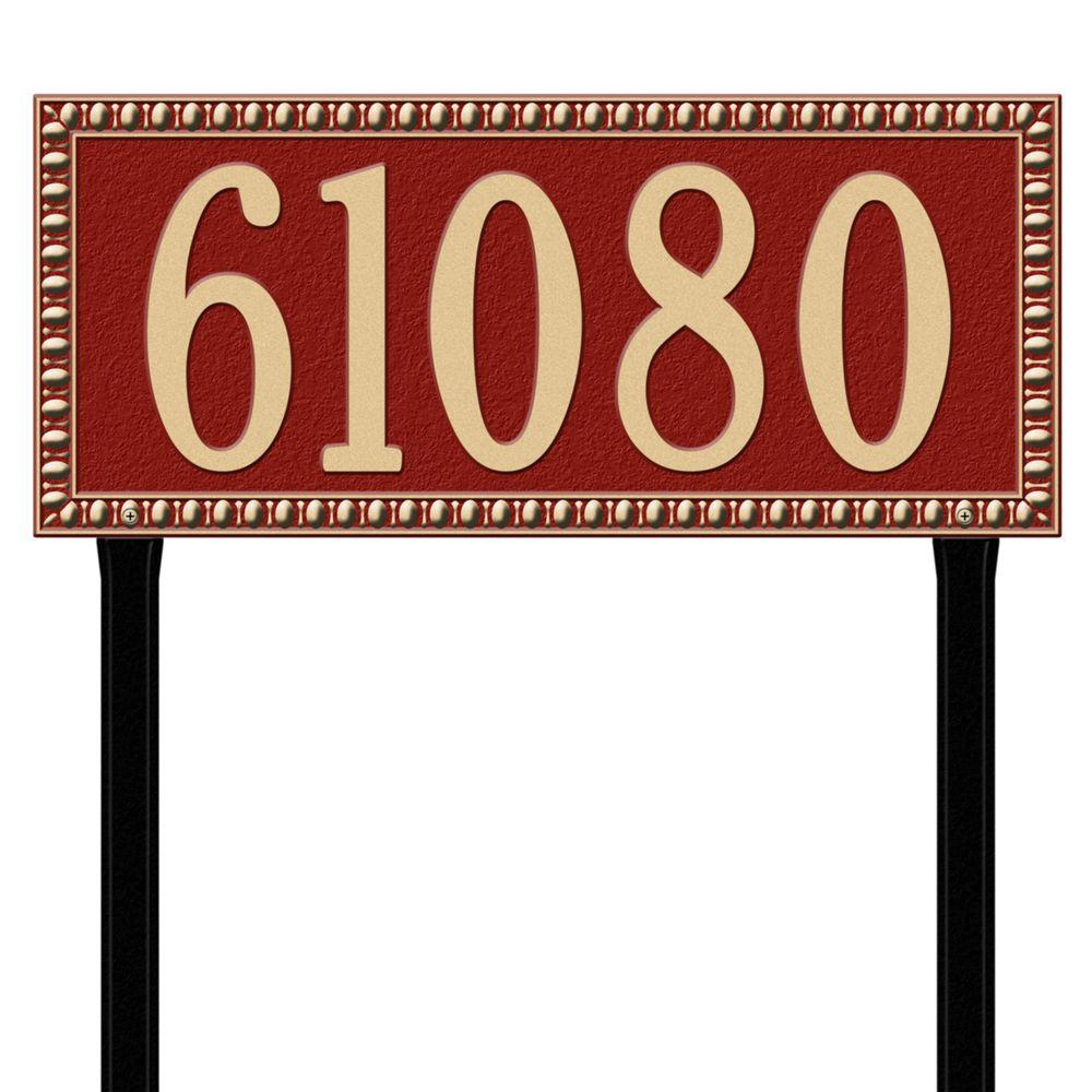 Egg and Dart Rectangular Red/Gold Estate Lawn One Line Address Plaque
