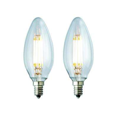 40-Watt Equivalent Warm White BA10 Clear Lens Nostalgic Candelabra Blunt Tip Dimmable LED Light Bulb (2-Pack)
