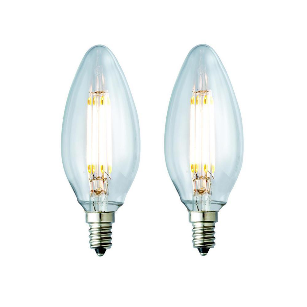40W Equivalent Warm White B10 Clear Lens Nostalgic Candelabra Blunt Tip Dimmable LED Light Bulb (2-Pack)