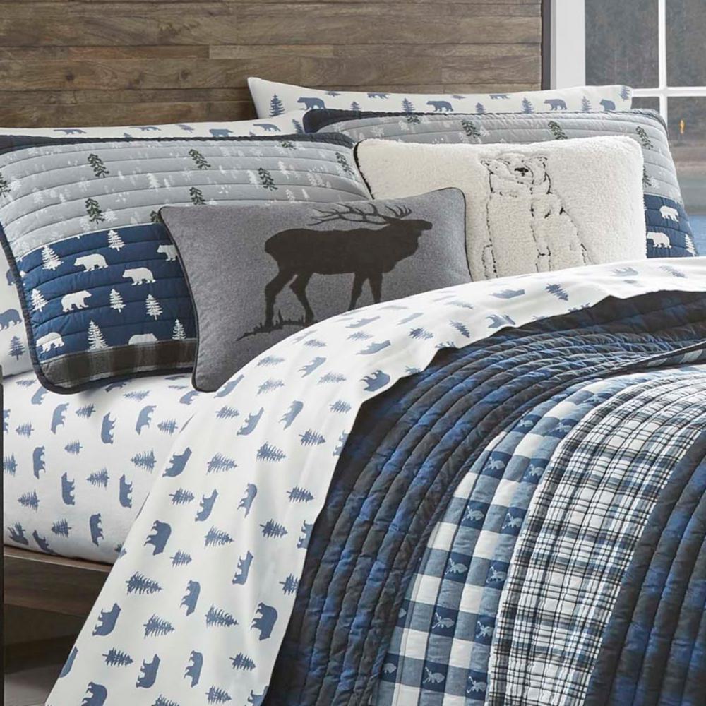 Blue Creek Navy Plaid Cotton Quilt Set