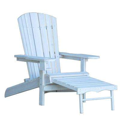 Classic White Reclining Wood Muskoka Adirondack Chair with Ottoman and Cupholder