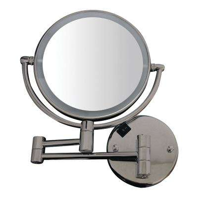 8 in. x 17-1/4 in. Round Framed Wall Mounted Led Mirror in Brushed Nickel with 7x Magnification