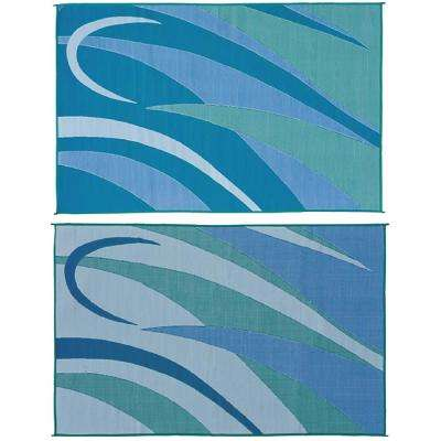 8 ft. x 12 ft. Graphic Blue/Green Reversible Mat