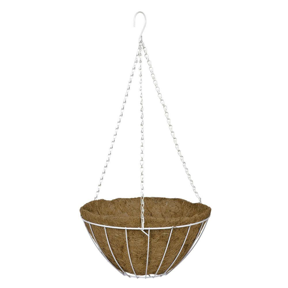 16 in. White Grower's Style Metal Hanging Basket