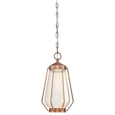 Corina Medium 1-Light Washed Copper LED Outdoor Pendant Light with Clear Seeded Glass