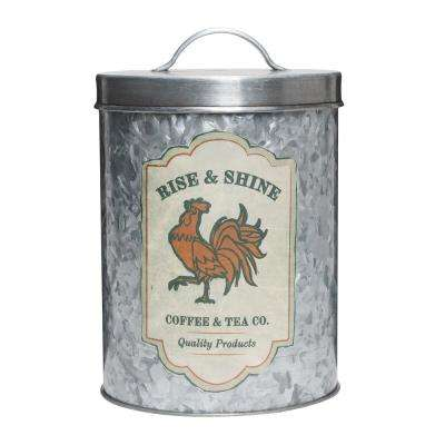 Rooster Coffee Tea 84 oz. Metal Storage Canister with Lacquered Decal