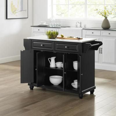 Cambridge Black Full Size Kitchen Island/Cart with Granite Top