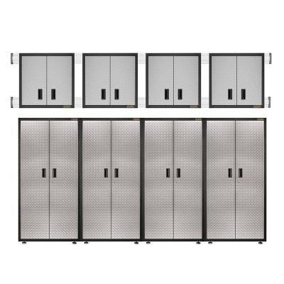Ready to Assemble 100 in. H x 144 in. W x 18 in. D Steel Garage Cabinet Set in Silver Tread (8-Pieces)
