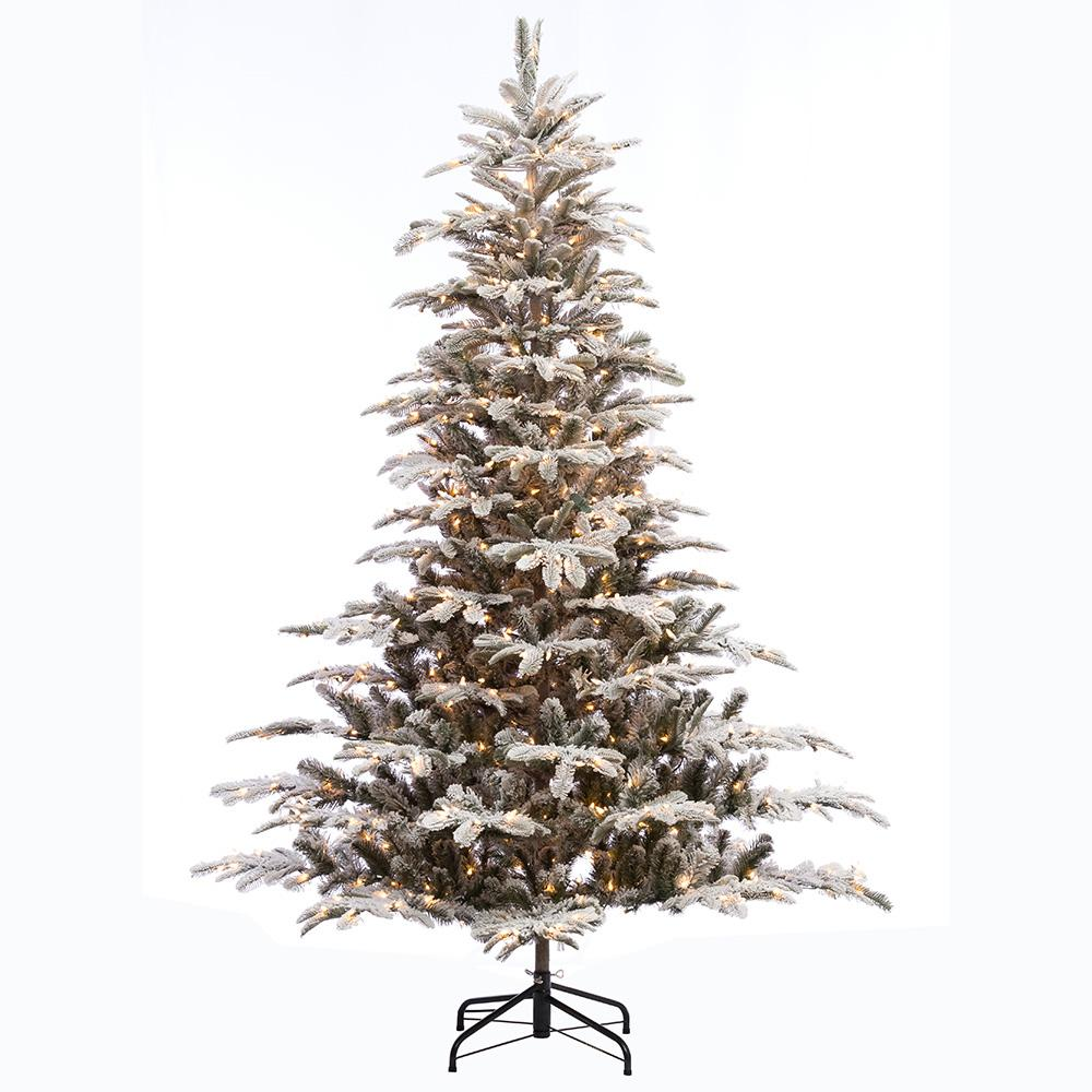 7.5 ft. Pre-Lit Incandescent Aspen Green Fir Flocked Artificial ...