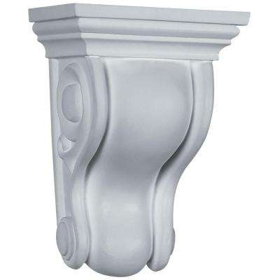 4-3/4 in. x 3-1/2 in. x 6-3/4 in. Primed Polyurethane Traditional Curved Corbel