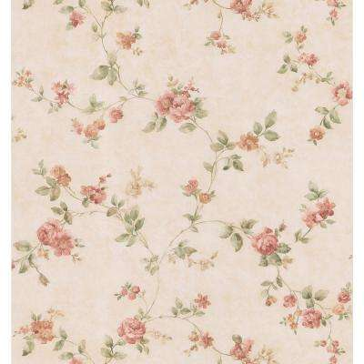Cameo Rose IV Beige Swag Trail Wallpaper Sample