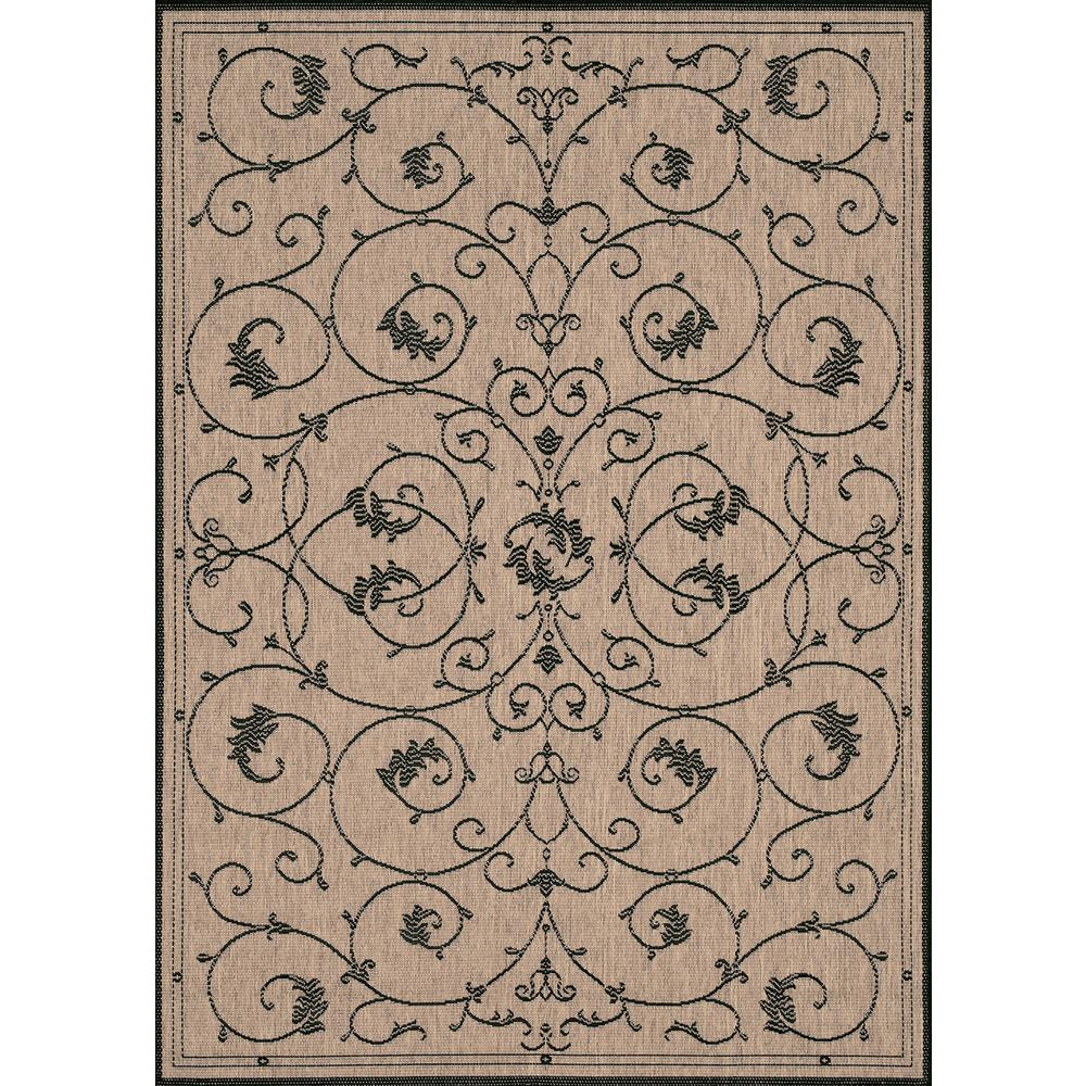 Couristan Recife Veranda Cocoa Black 8 Ft X 11 Indoor Outdoor Area Rug