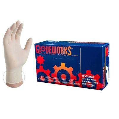 Ivory Latex Industrial Powder Free Disposable Gloves (Box of 100)