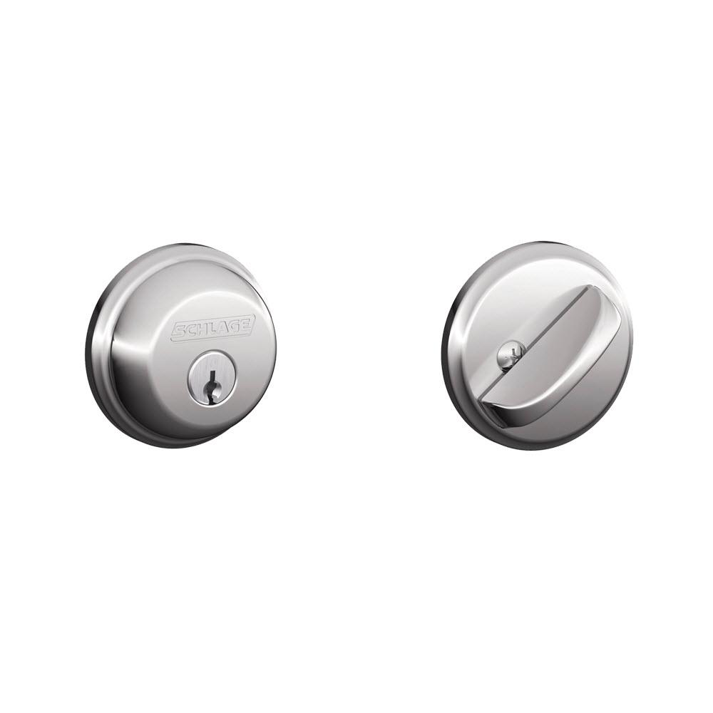 Schlage Single Cylinder Bright Chrome Deadbolt