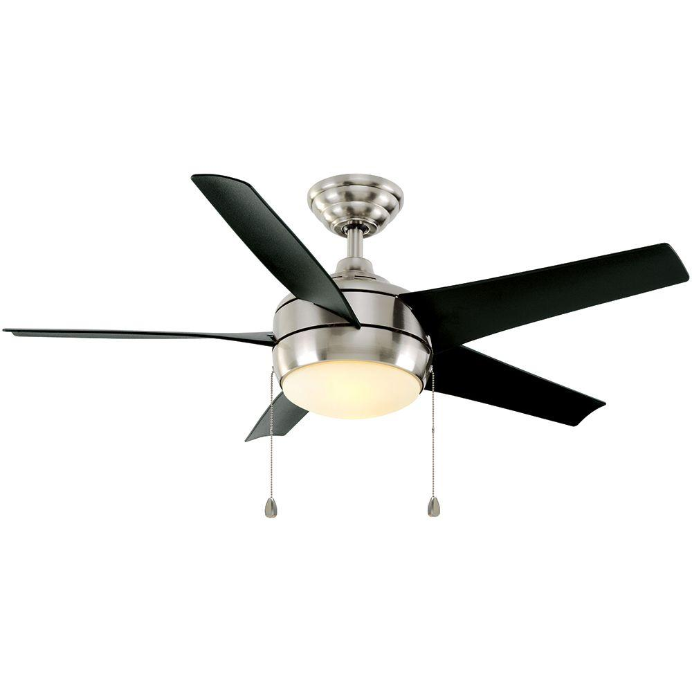 Home Decorators Collection Windward 44 In Indoor Brushed Nickel Ceiling Fan With Light Kit