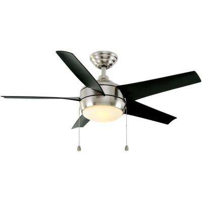 Windward 44 in. Indoor Brushed Nickel Ceiling Fan with Light Kit