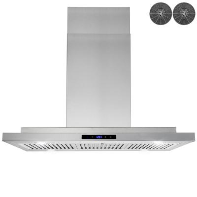 36 in. 350 CFM Convertible Island Mount Range Hood with LED Lights in Stainless Steel, Touch Control and Carbon Filters
