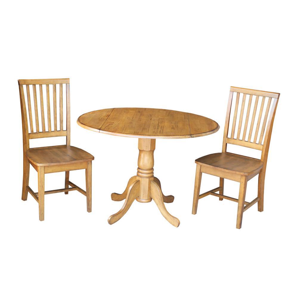Pecan Wood Furniture Dining Room: International Concepts 3-Piece Distressed Pecan Dining Set