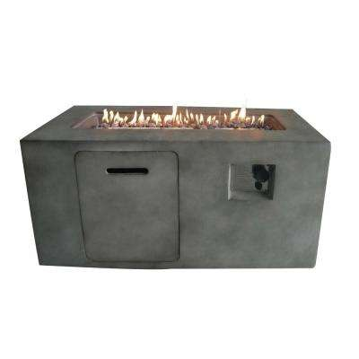 Suzano 41.7 in. x 23.2 in. Rectangular Cement Propane Fire Pit in Gray