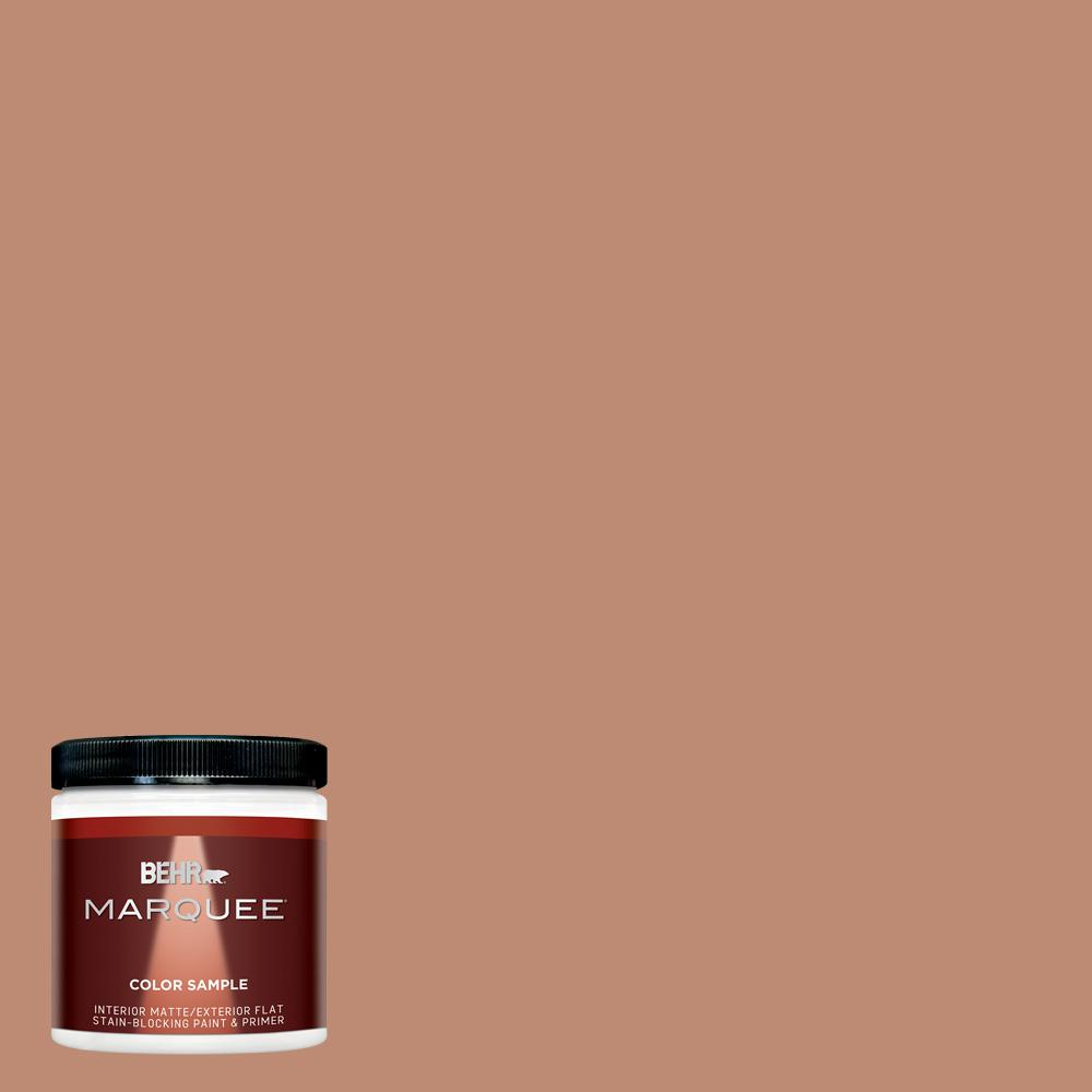 BEHR MARQUEE 8 oz. #230F-5 Suntan Glow Matte Interior/Exterior Paint and Primer in One Sample