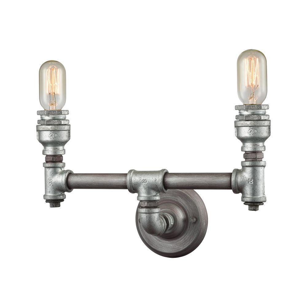 Cast Iron Pipe 2-Light Weathered Zinc Vanity Light