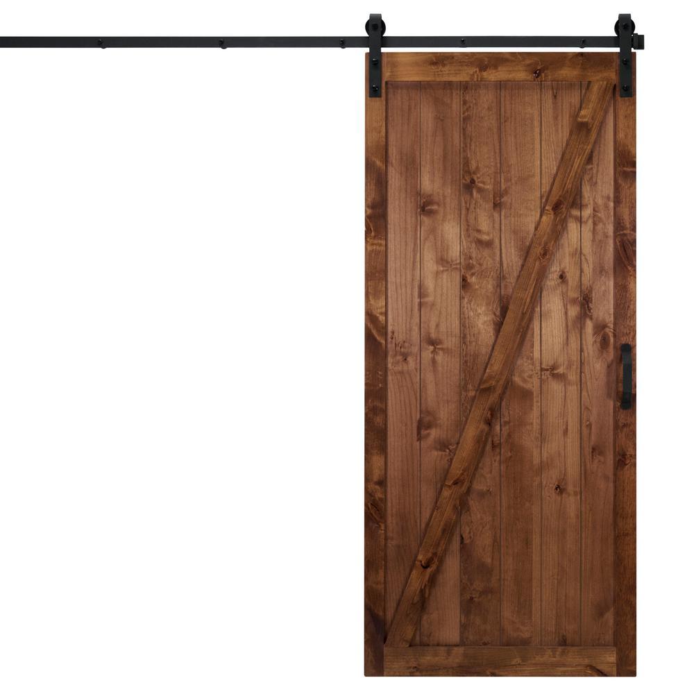 36 in. x 84 in. Classic Z Walnut Alder Wood Interior Barn Door Slab with Sliding Door Hardware Kit