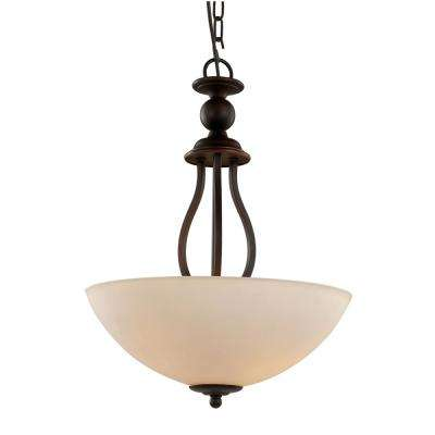 Claiborne 3-Light Rubbed Oil Bronze Pendant with 15.75 in Opal Shade