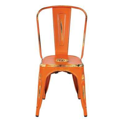 Bristow Antique Orange Armless Metal Chair (4-Pack)
