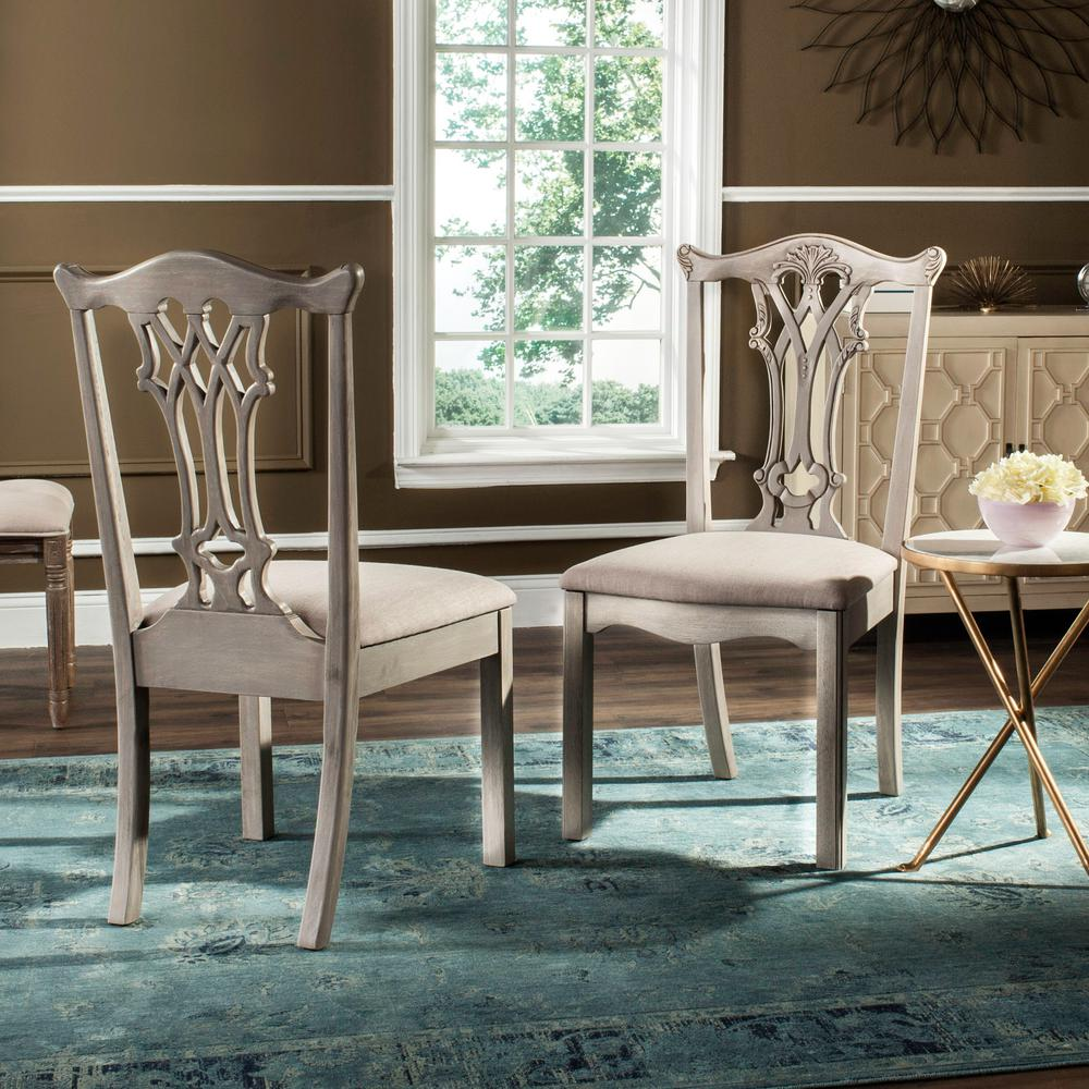 safavieh whitfield 20 in h taupe rustic gray chippendale side chair set of 2 fox6239b set2. Black Bedroom Furniture Sets. Home Design Ideas