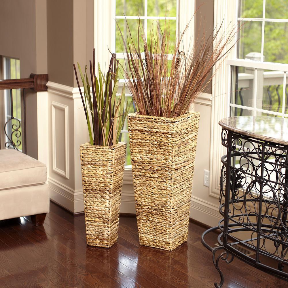 35 in x 14 in Water Hyacinth Nested Wicker Floor Vases (set of 2)