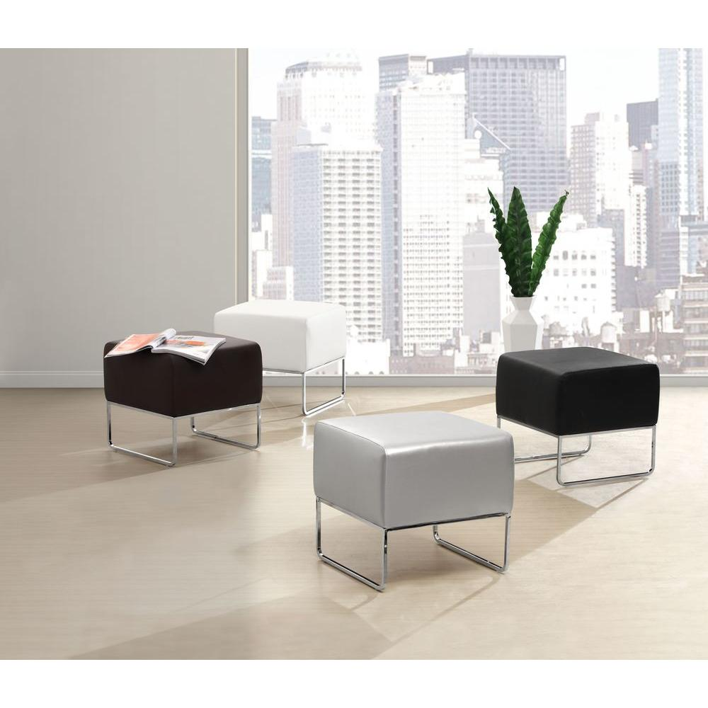 ZUO White Accent Ottoman-103004 - The Home Depot