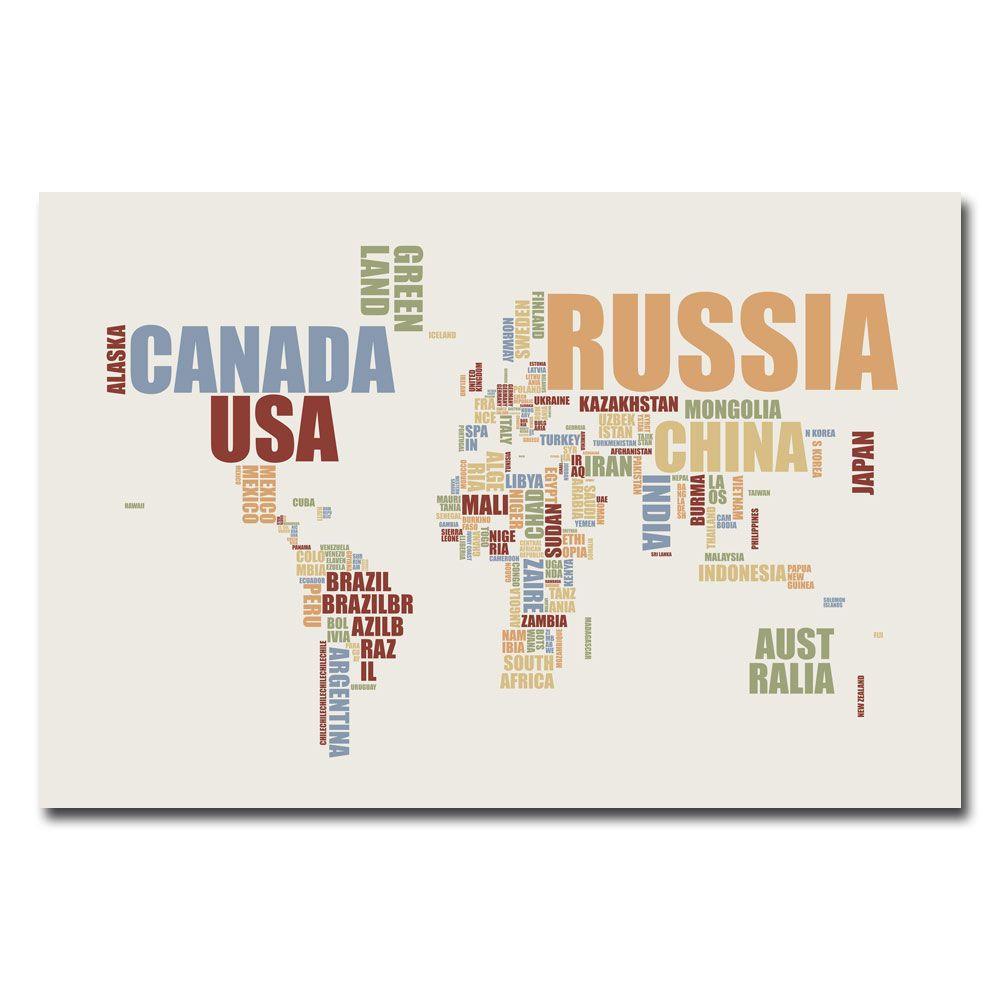Trademark Fine Art 22 in. x 32 in. World Text Map Canvas Art