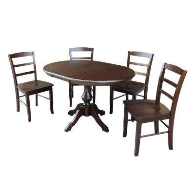 Sophia 5-Piece Mocha Oval Dining Set with Madrid Chairs