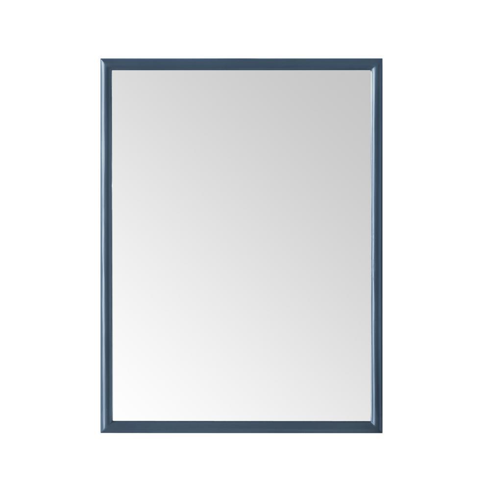 Melpark 32 in. W x 24 in. H Framed Rectangular Bathroom Vanity Mirror in Grayish Blue