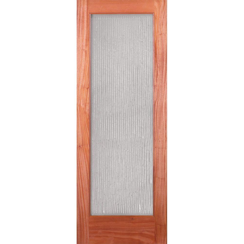 Feather River Doors 24 in. x 80 in. 1 Lite Unfinished Mahogany Bamboo Casting Woodgrain Interior Door Slab