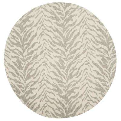 Marbella Light Gray/Ivory 6 ft. x 6 ft. Round Area Rug
