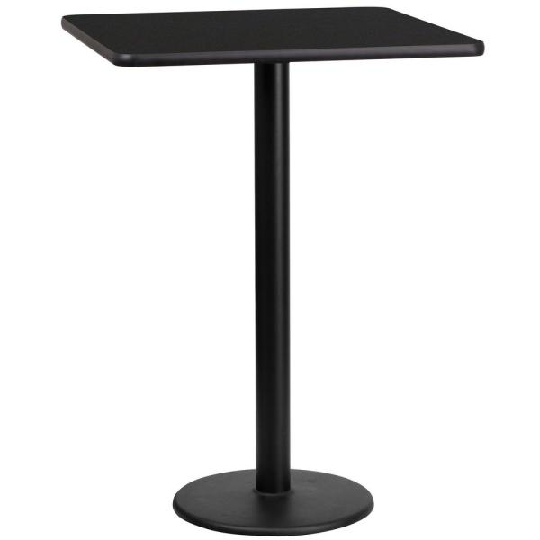 24 in. Square Black Laminate Table Top with 18 in. Round Bar Height Table Base