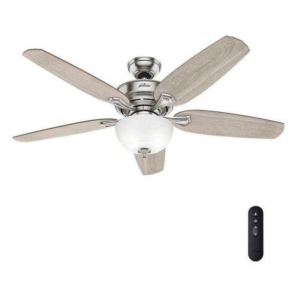 Channing 54 in. LED Indoor Easy Install Brushed Nickel Ceiling Fan with HunterExpress feature set