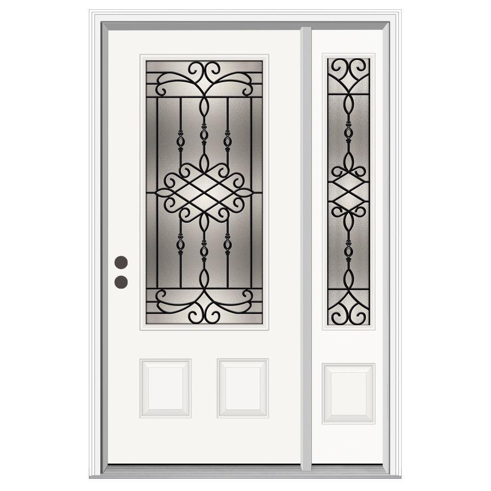 52 in. x 80 in. 3/4 Lite Sanibel Primed Steel Prehung Right-Hand Inswing Front Door with Right-Hand Sidelite
