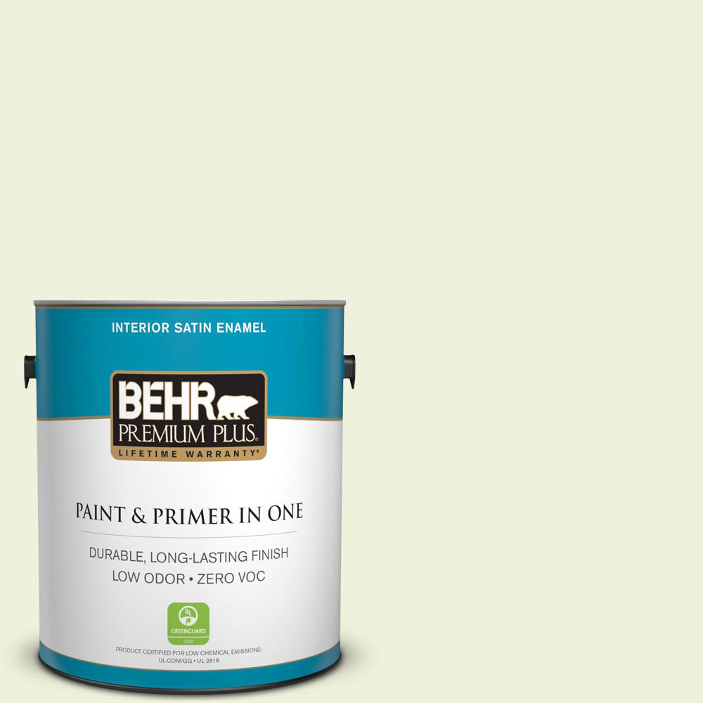 BEHR Premium Plus 1-gal. #410C-1 June Vision Zero VOC Satin Enamel Interior Paint