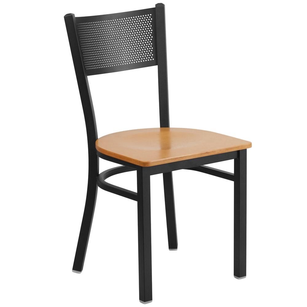 Hercules Series Black Grid Back Metal Restaurant Chair - Natural Wood