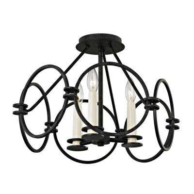Juliette 3-Light Country Iron Semi-Flush Mount