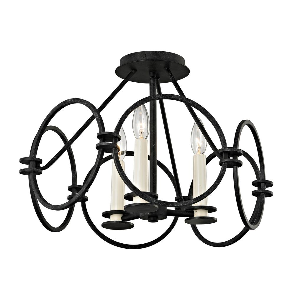 Troy Lighting Juliette 3-Light Country Iron Semi-Flushmount-C5953 ...