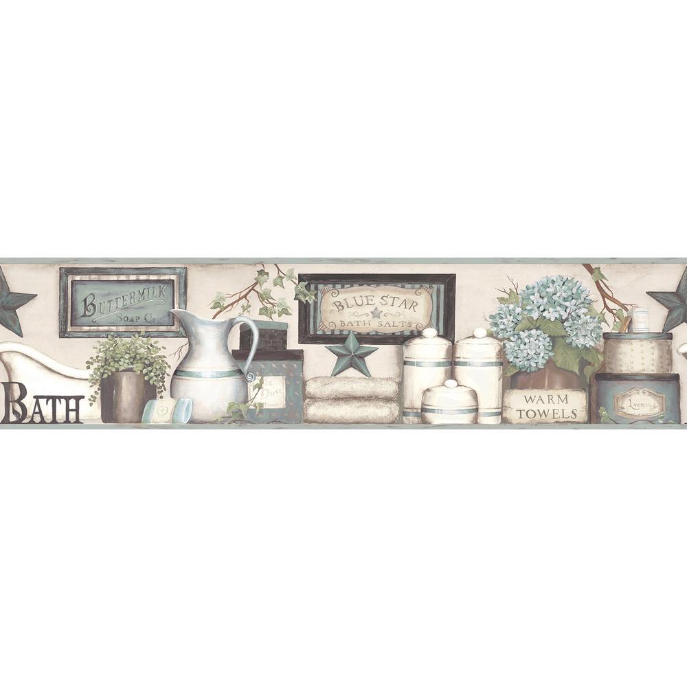 Country Bath Aqua Rustic Wallpaper Border