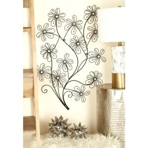26 inch x 36 inch New Traditional Black Iron Wire Flowers Wall Decor (2-Piece) by