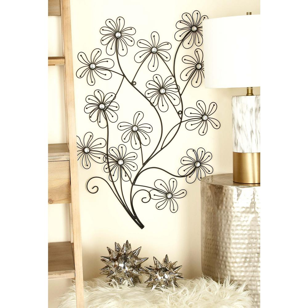 New traditional black iron wire flowers wall decor 64649 the home depot