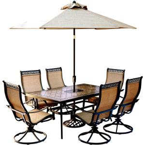Hanover Monaco 7-Piece Outdoor Dining Set with Rectangular Tile-Top Table and... by Hanover